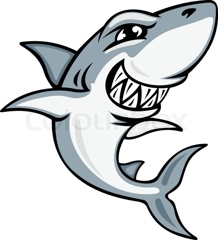 Cartoon smiling shark for mascot and stock vector
