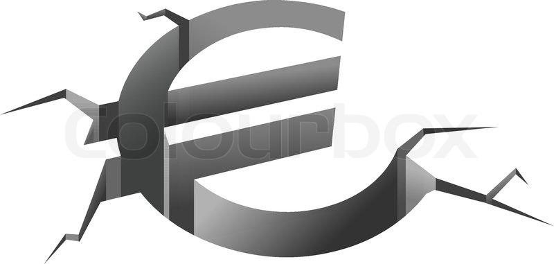 Euro Symbol In Crash For European Crisis Concept Stock Vector