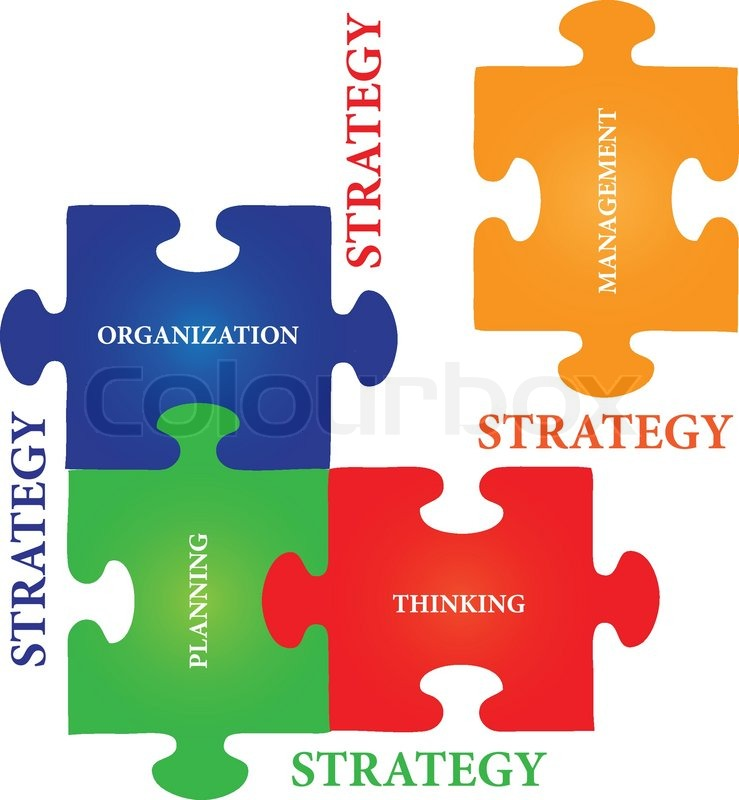 Vector Of Four Jigsaw Puzzle Pieces With Words On The Topic Strategy