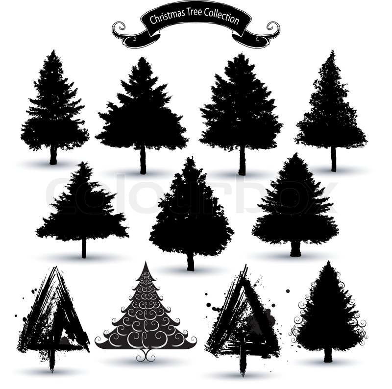 Christmas tree silhouettes stock vector colourbox