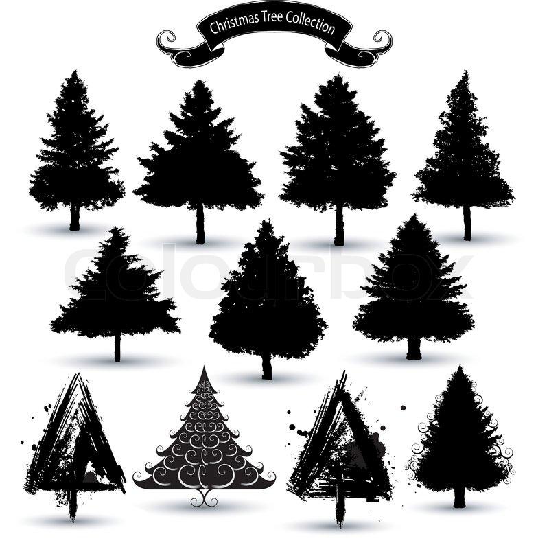 Christmas tree silhouettes stock vector colourbox for Silhouette de noel exterieur