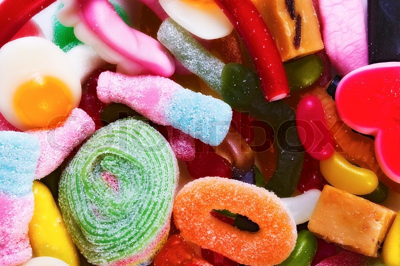 Stock image of 'Sugar color chewy gelatin candy'