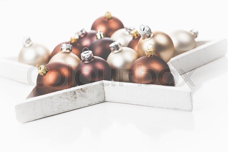 Braune Christbaumkugeln.Braune Goldene Und Helle Stock Bild Colourbox