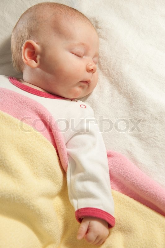 Little Baby Girl Is Sleeping At Home Stock Image Colourbox