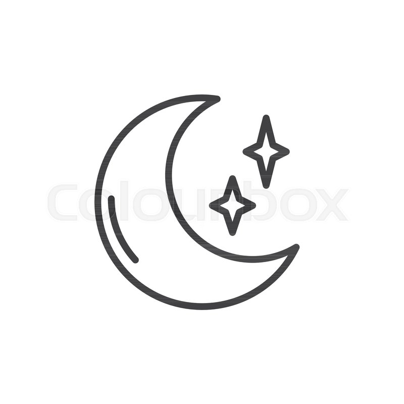 Moon And Stars Outline Icon Linear Stock Vector Colourbox Moon outlines free vector we have about (9,867 files) free vector in ai, eps, cdr, svg vector illustration graphic art design format. moon and stars outline icon linear