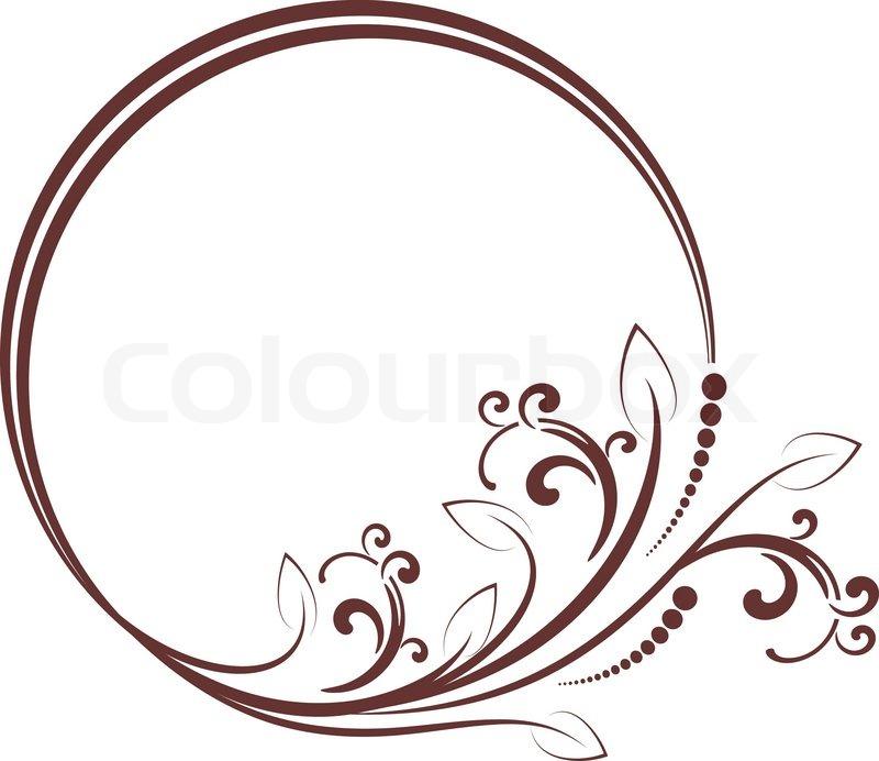 Runde Rahmen mit dekorativen Zweig. Vektor-Illustration ...