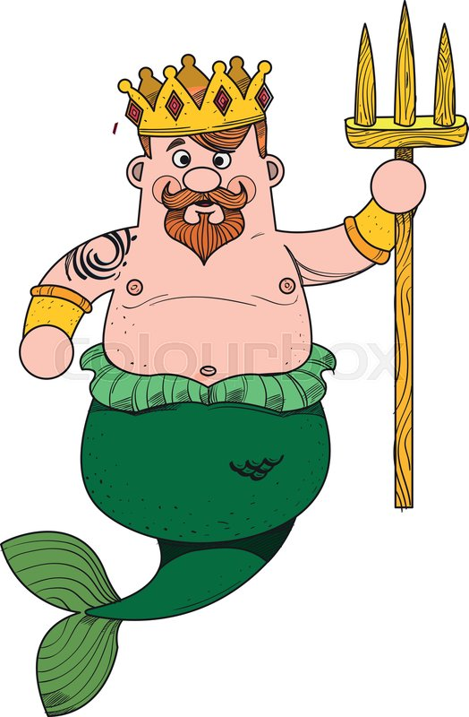 Neptune Cartoon Character Is King Of Stock Vector