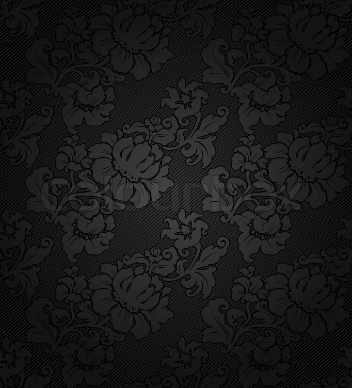 Corduroy Dark Background Ornamental Gray Flowers Texture