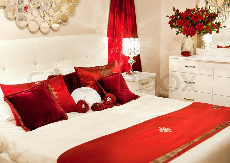 Luxury Home Bedroom With Stylish Furniture And Decor | Stock Photo |  Colourbox
