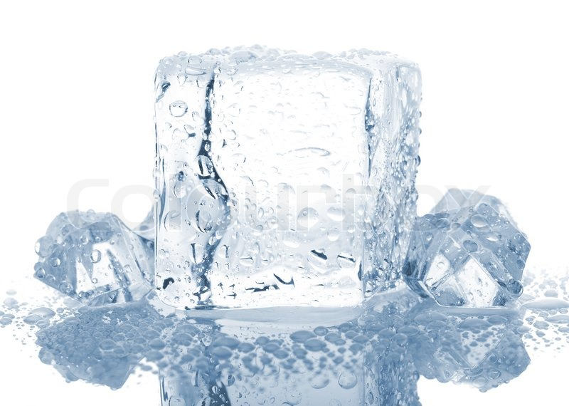 Blocks Of Ice With Water Drops Isolated On White