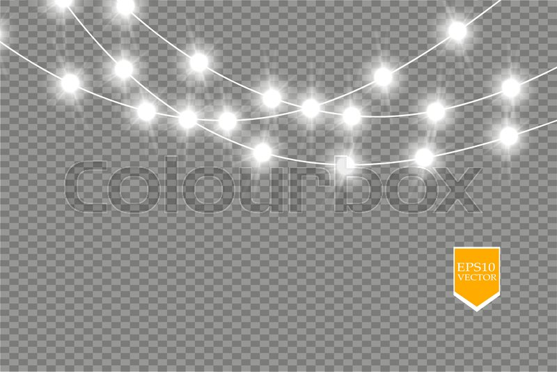 christmas lights isolated on transparent background xmas glowing garland vector illustration vector