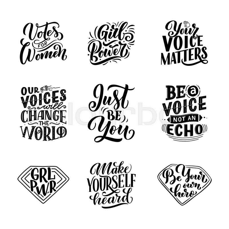 Set of lettering quotes about woman ... | Stock vector ...