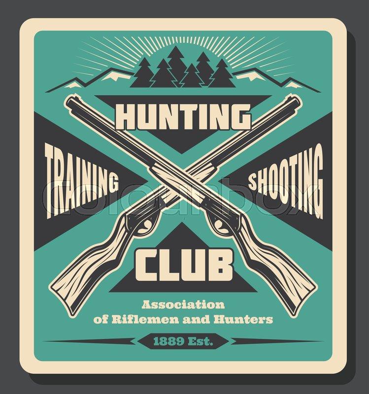 Hunting club retro poster, hunt open     | Stock vector