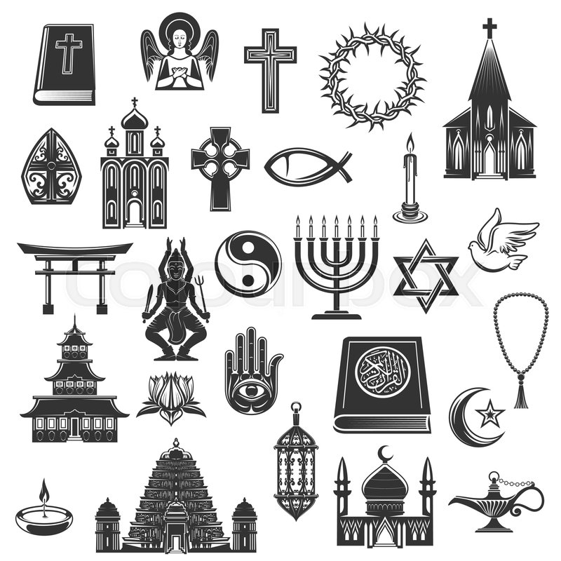 World Religions Symbols And Religious Signs Vector Christianity