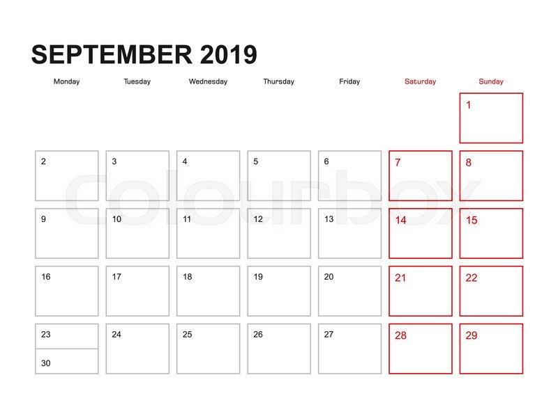 Calendar Planner September 2019.Wall Planner For September 2019 In Stock Vector Colourbox