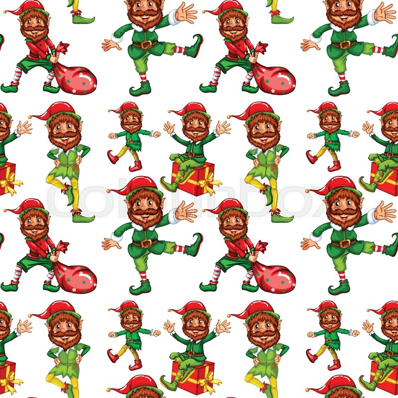 Happy Christmas Elf Seamless Pattern Illustration Stock Vector Magnificent Elf Pattern