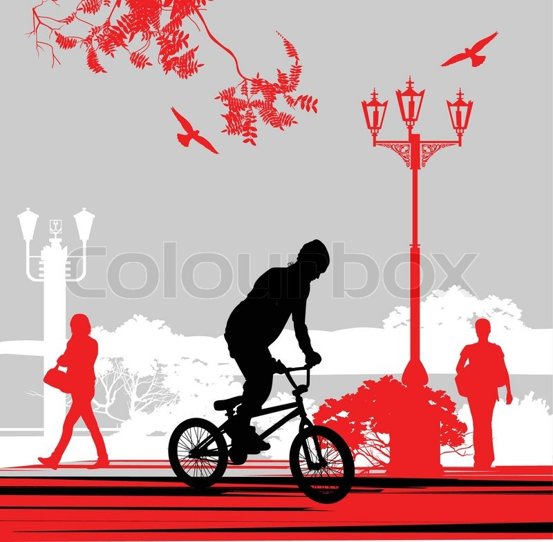 Stock vector of 'Illustration of cyclists on the street'