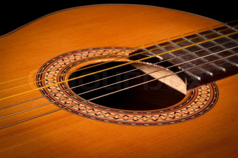 Classical Guitar Close Up On Dark Background Stock Photo