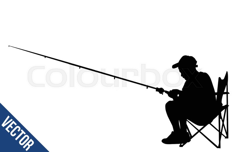 fisherman silhouette on white stock vector colourbox fisherman silhouette on white