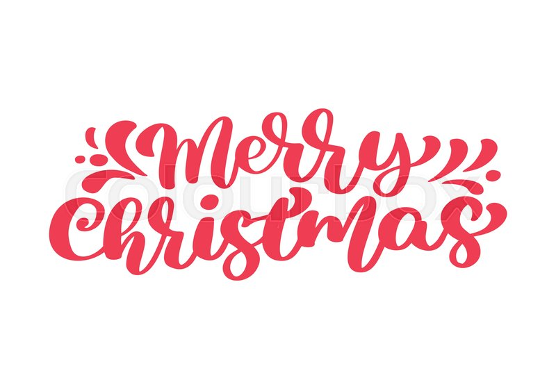 Merry Christmas Calligraphy.Merry Christmas Red Vector Text Stock Vector Colourbox