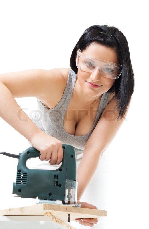 Beliebt Bevorzugt Positive Frau mit Holz schneiden | Stock Bild | Colourbox #AG_01