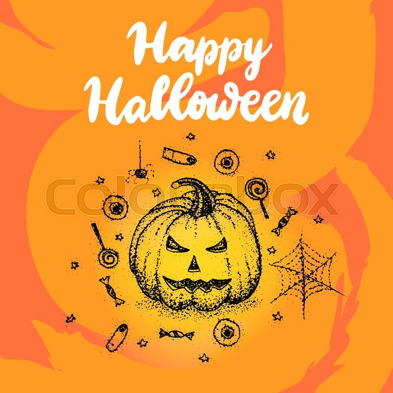 Happy halloween greeting card vector illustration of holiday design happy halloween greeting card vector illustration of holiday design vector m4hsunfo