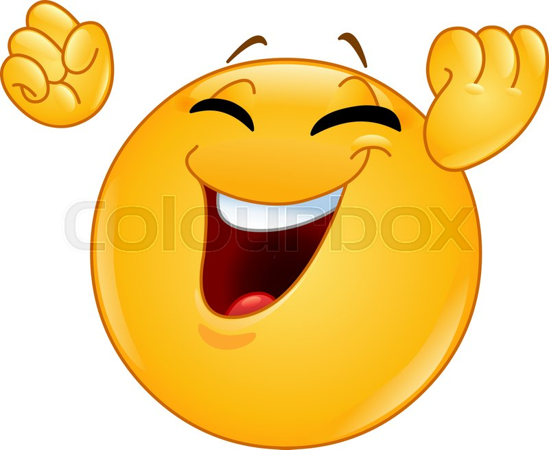 Smiley face with raised fists emoticon