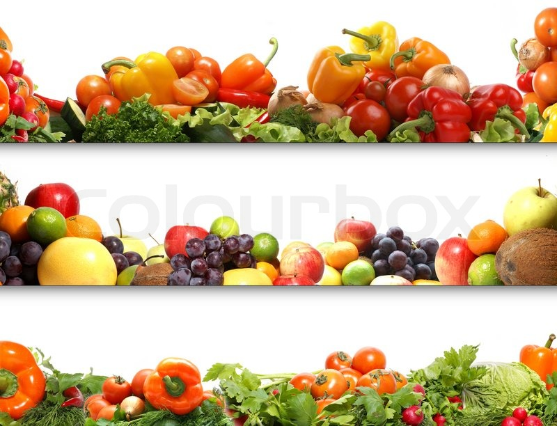 Stock image of '5 nutrition textures fruits and vegetables isolated on white'