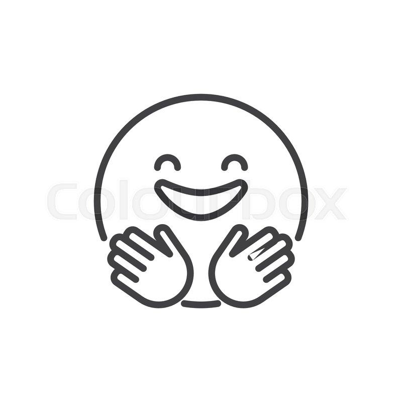 Hugging smiling face emoji outline       Stock vector   Colourbox