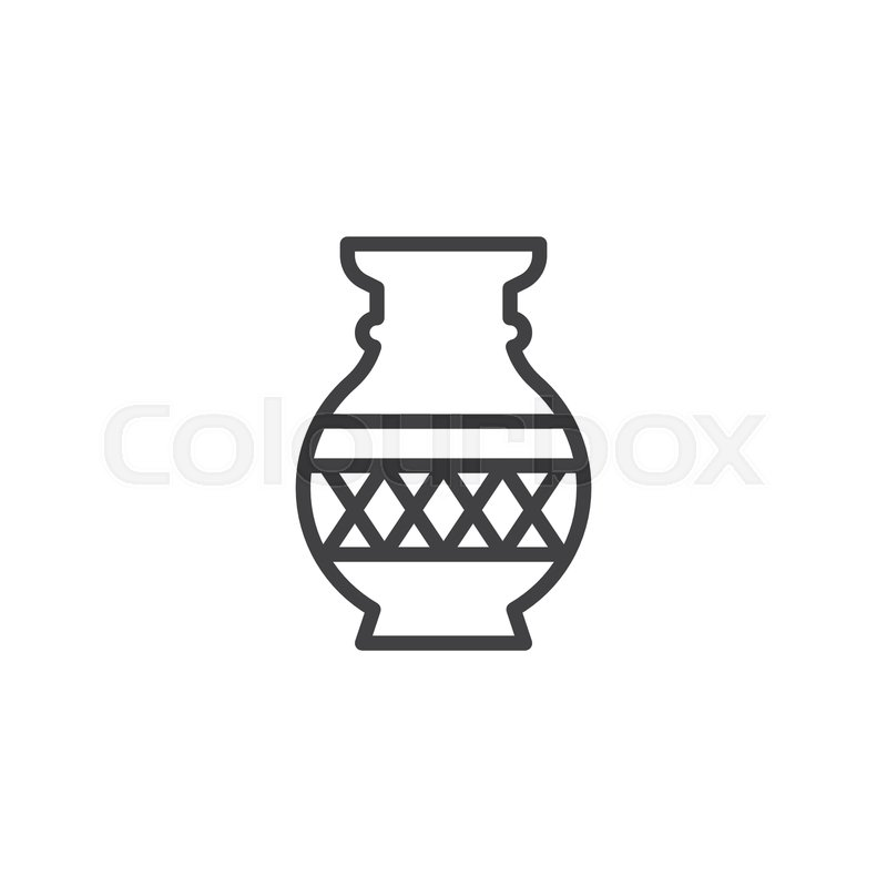 Beautiful Vase Outline Icon Linear Style Sign For Mobile Concept