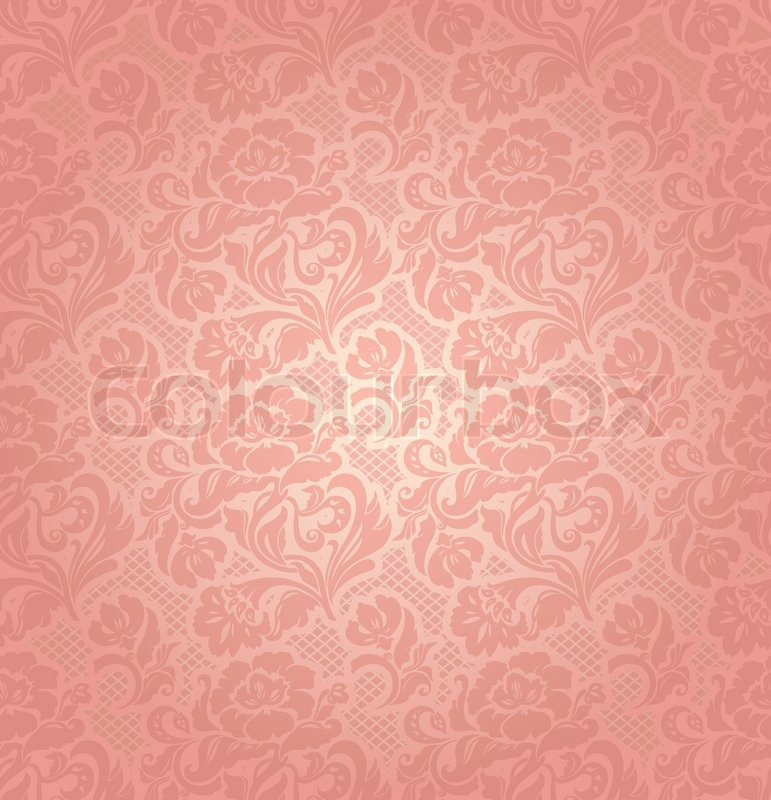 Lace Background Ornamental Pink Flowers Vector