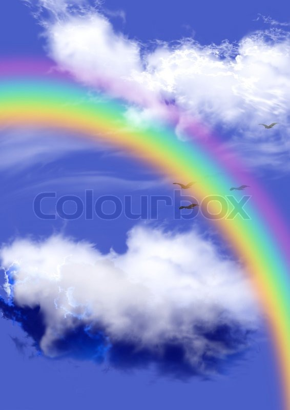blue cloud with rainbow wallpaper - photo #7