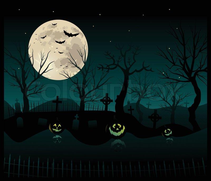halloween gruselige friedhof hintergrund vektorgrafik. Black Bedroom Furniture Sets. Home Design Ideas