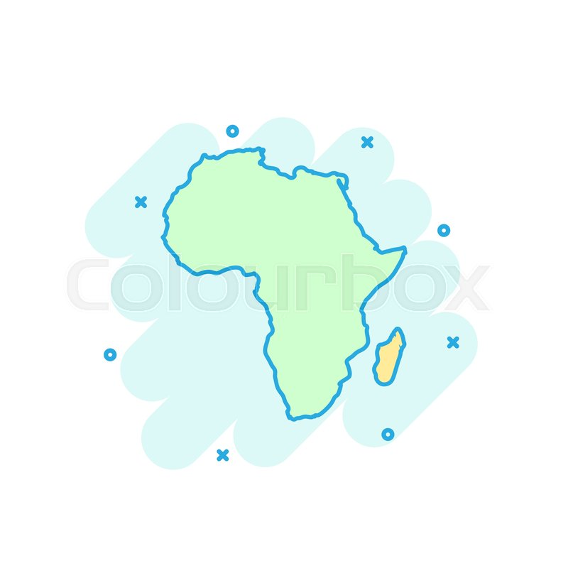 Cartoon Colored Africa Map Icon In Stock Vector Colourbox