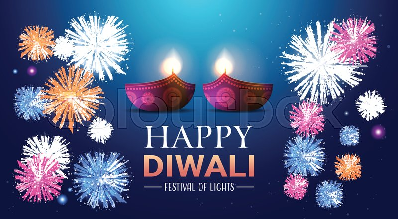 happy diwali traditional indian lights hindu festival celebration holiday concept flat greeting card template invitation horizontal copy space vector