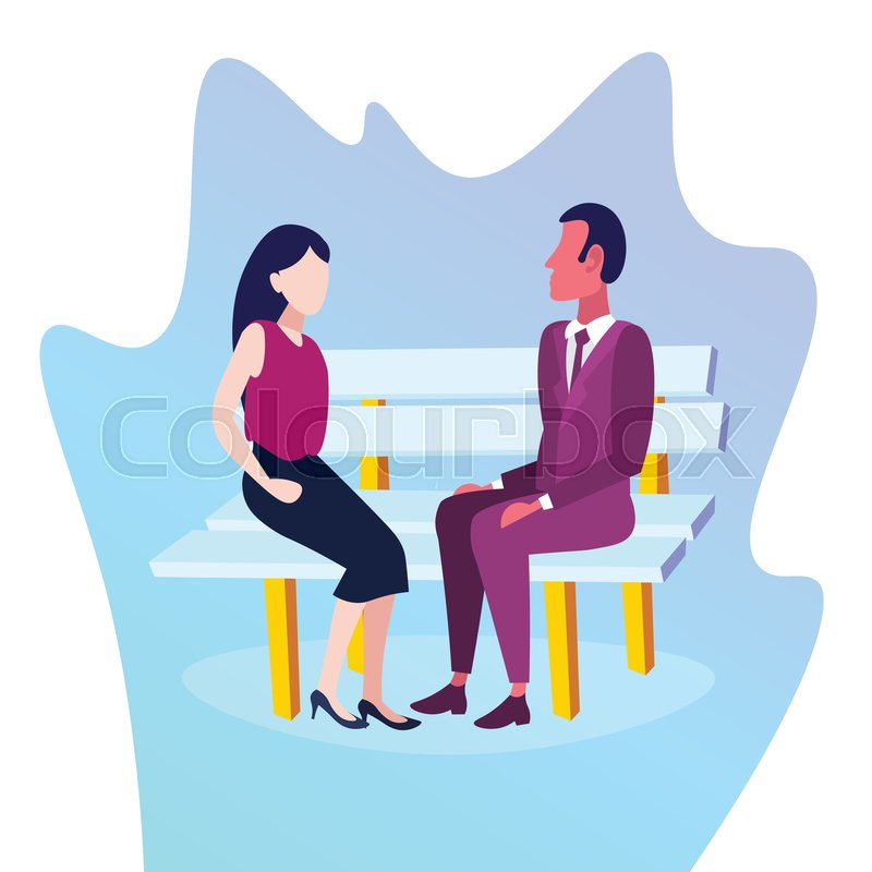 Fabulous Business Couple Sitting Wooden Bench Stock Vector Ocoug Best Dining Table And Chair Ideas Images Ocougorg