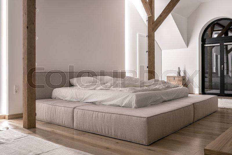 Luminous Modern Bedroom With White Stock Image Colourbox