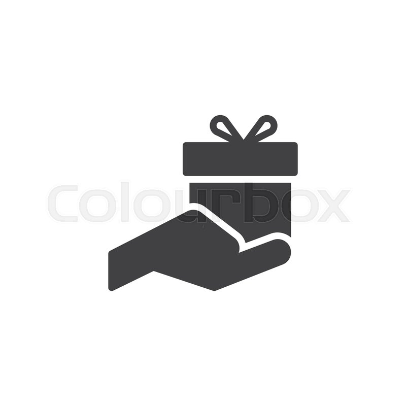 Gift Box In Hand Vector Icon Filled Stock Vector Colourbox