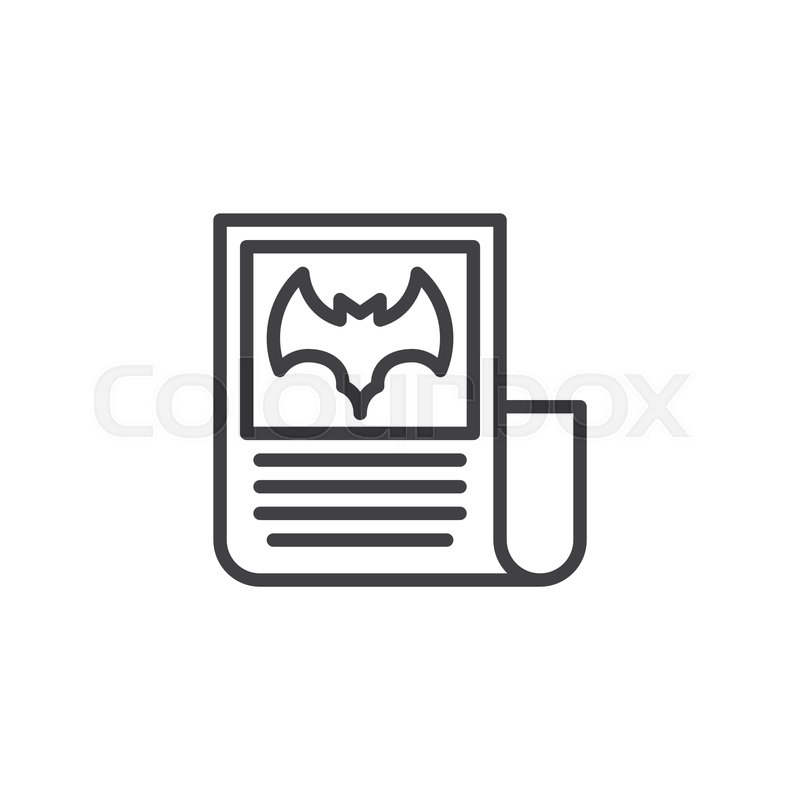 Halloween Newspaper Outline Icon Linear Style Sign For Mobile Concept And Web Design News Paper With Bat Simple Line Vector