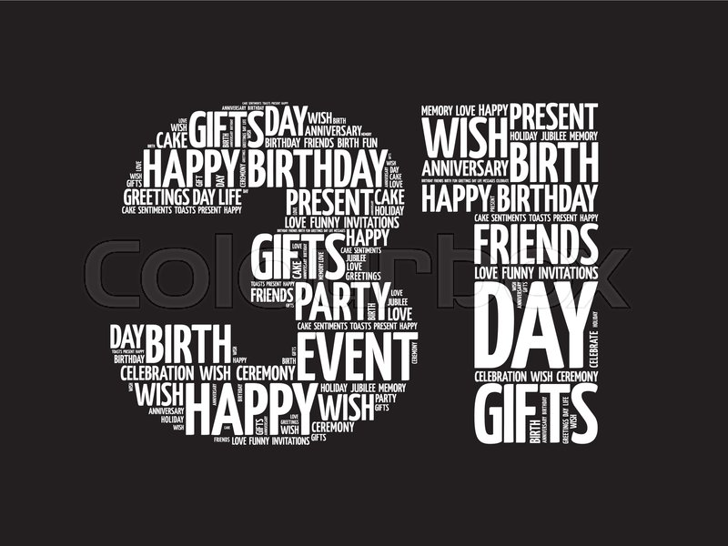 Happy 31st Birthday Word Cloud Collage Stock Vector Colourbox