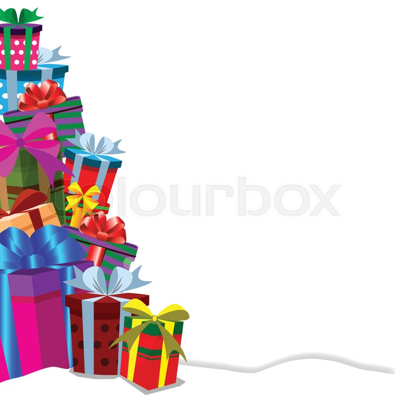 christmas new year valentine birthday anniversary template with border frame of gift boxes heap on snowdrift with copy space on white