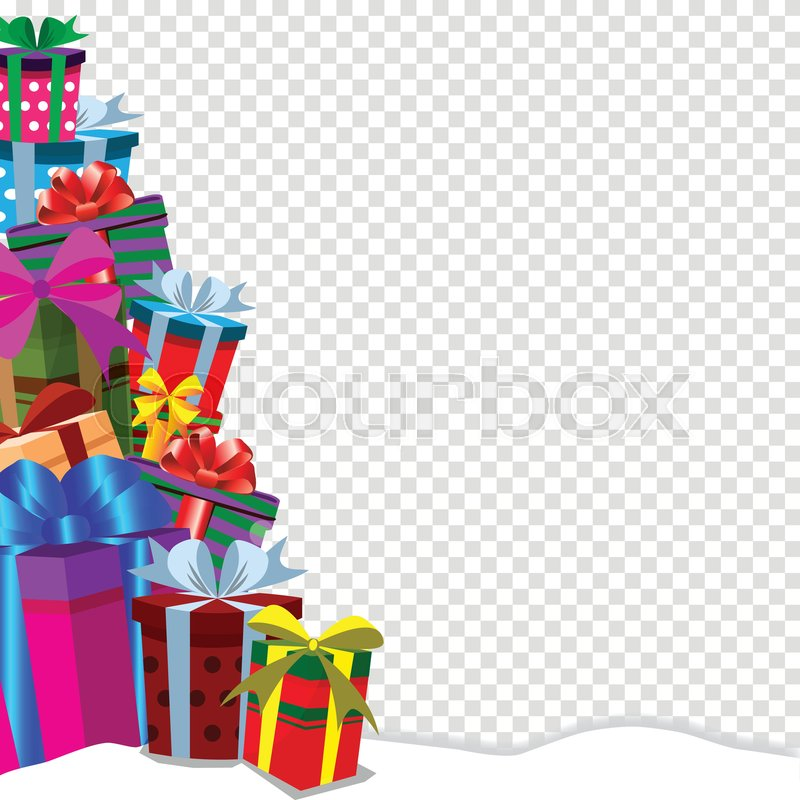 christmas new year valentine birthday anniversary clip art with border frame of gift boxes heap on snow with copy space on transparent vector