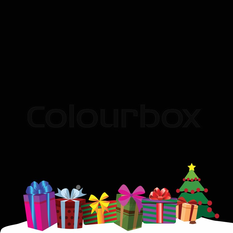 colourful gift boxes on white snow drift christmas or new year border frame background vector illustration of presents decorated by ribbons and bows on