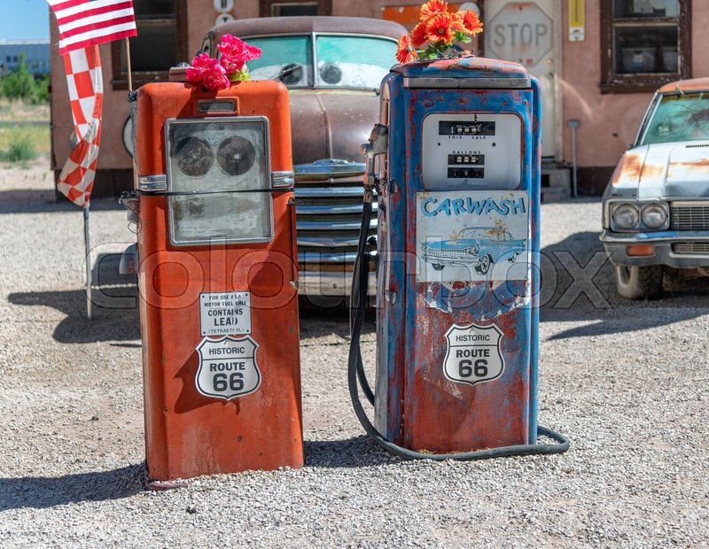 Vintage Old Gas Station On Historic Stock Image Colourbox