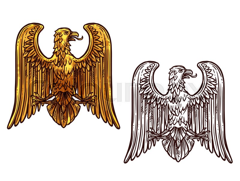 Heraldic Eagle Golden Statue And Sketch Icon Griffin Coat Of Arms