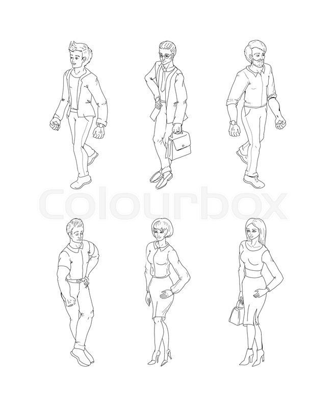 Group Of People Standing Black And Stock Vector Colourbox