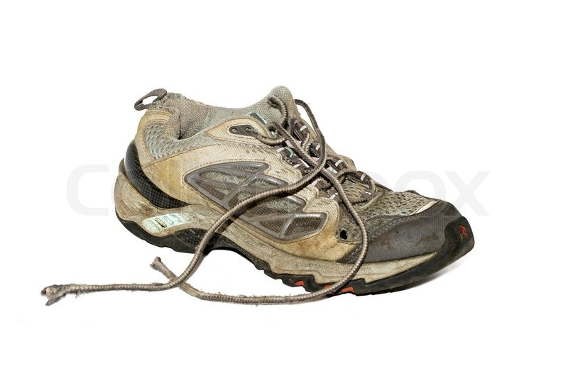Old Dirty Running Shoe Isolated Over White Stock Photo