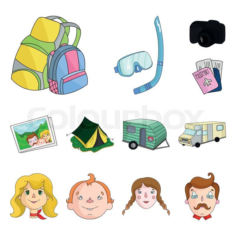 Family Holiday Cartoon Icons In Set Stock Vector Colourbox
