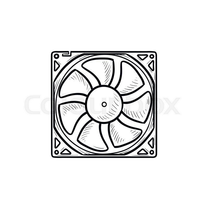 computer fan hand drawn outline doodle icon computer cooler pc hardware cooling equipment concept vector sketch illustration for print web