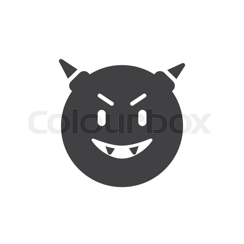 Devil Face Emoticon Vector Icon Filled Flat Sign For Mobile Concept